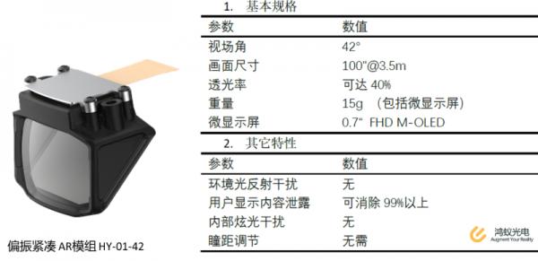 宁波鸿蚁光电偏振紧凑型AR光学模组
